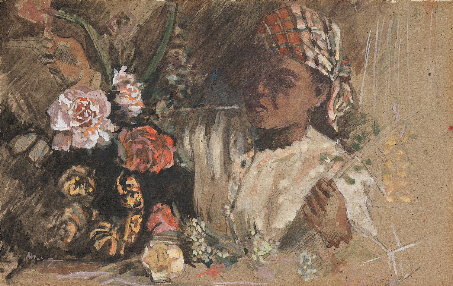 Black woman with peonies. Bazille, Frédéric (French, 1841-1870). Watercolour, gouache, black chalk and graphite on card, height, card, 335 mm, width, card, 525 mm, circa 1870. Acquisition: The Gow Fund, National Art Collections Fund, V&A. Purchase Grant Fund.