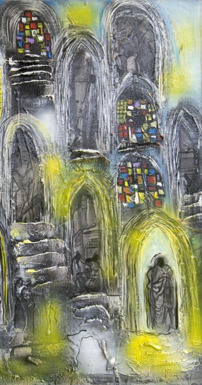Le monde du silence acrylique sur toile +matière 2010